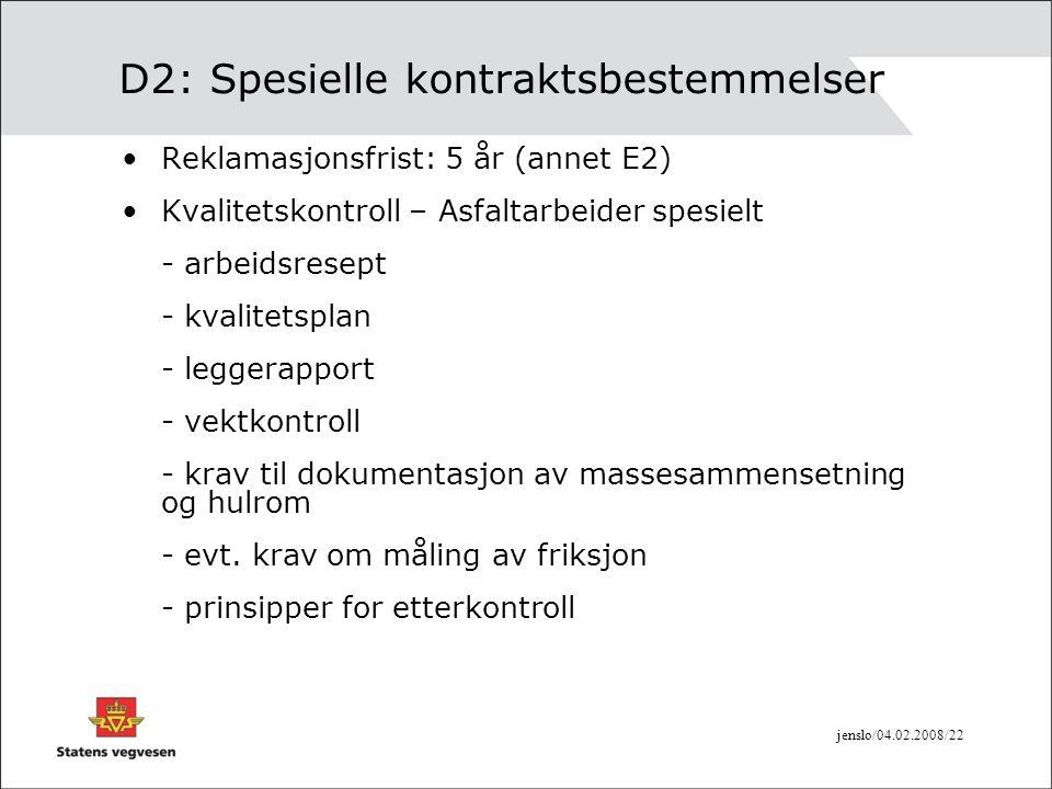 D2: Spesielle kontraktsbestemmelser