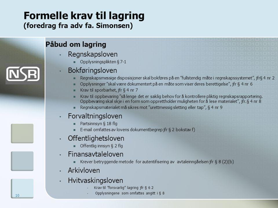 Formelle krav til lagring (foredrag fra adv fa. Simonsen)