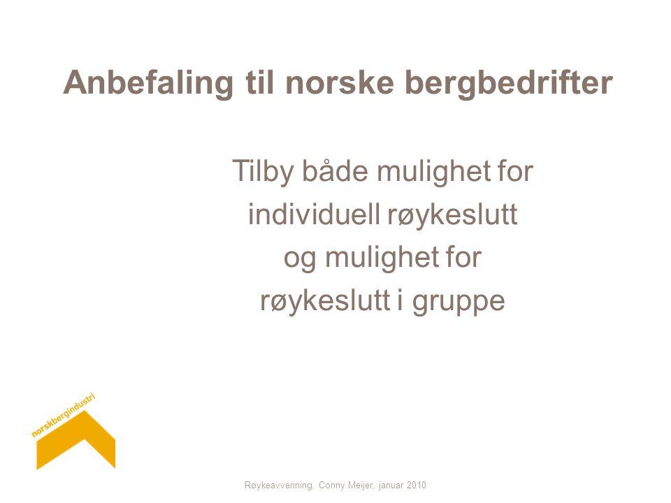 Anbefaling til norske bergbedrifter