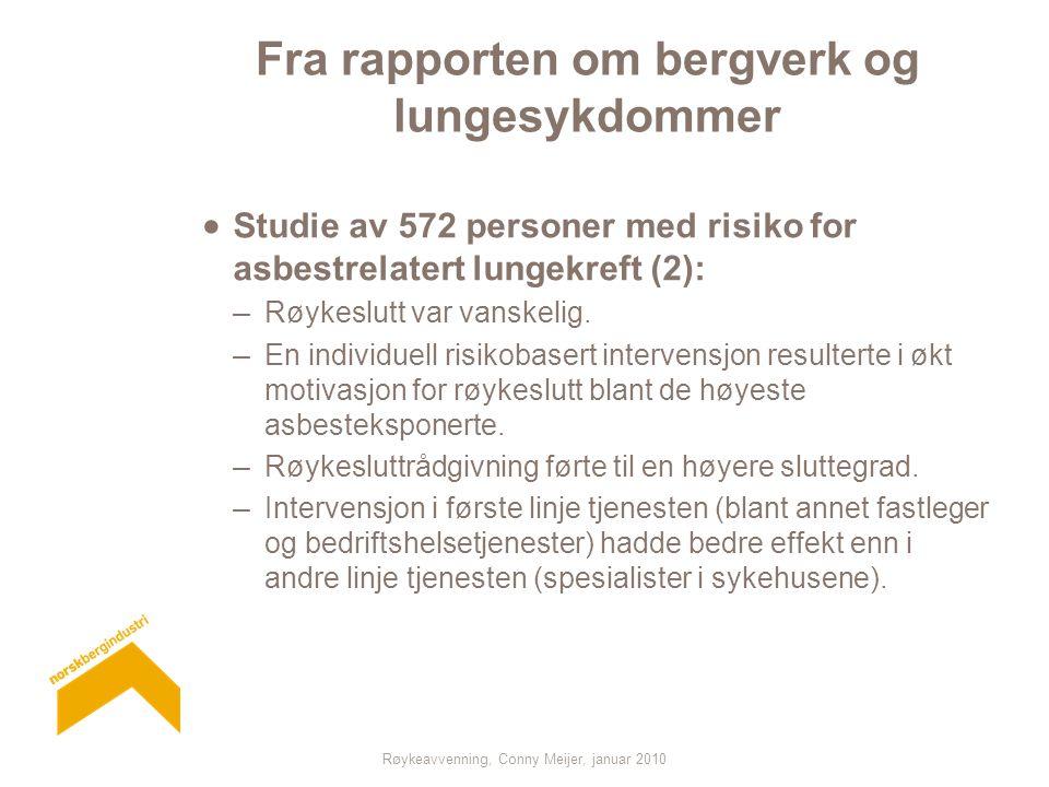 Fra rapporten om bergverk og lungesykdommer