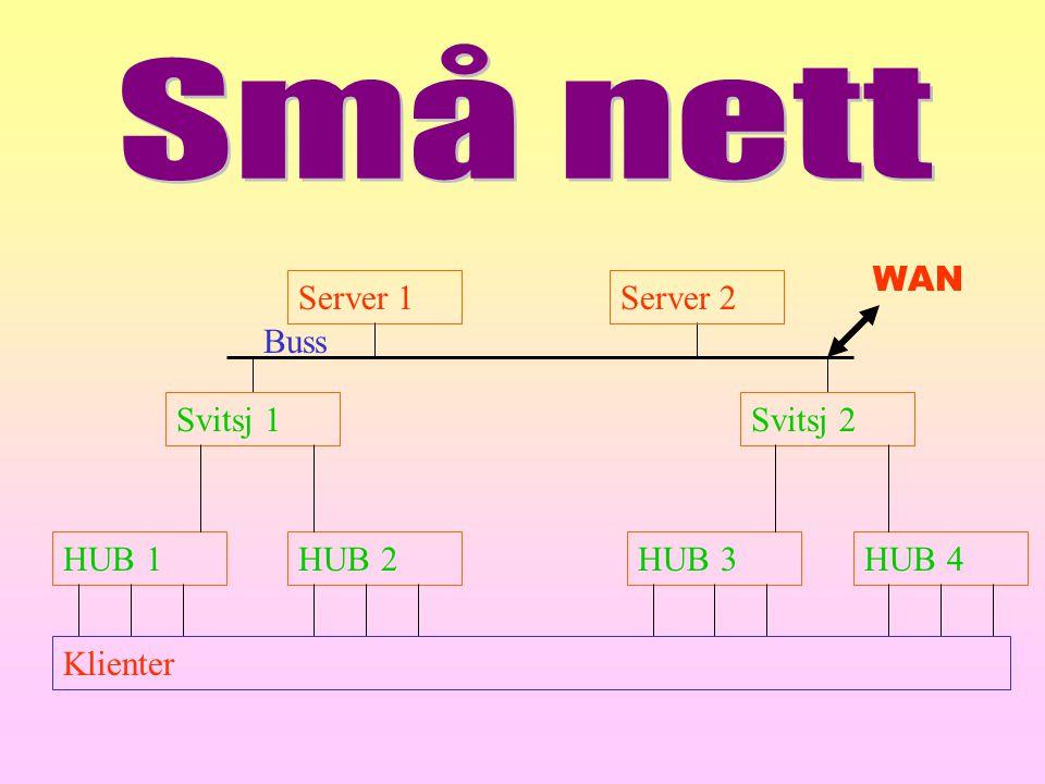 Små nett Server 1 Server 2 Svitsj 1 Svitsj 2 Buss HUB 2 HUB 1 HUB 4