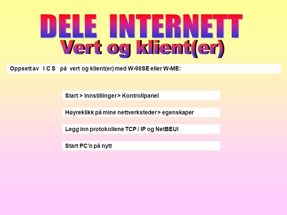 DELE INTERNETT Vert og klient(er)