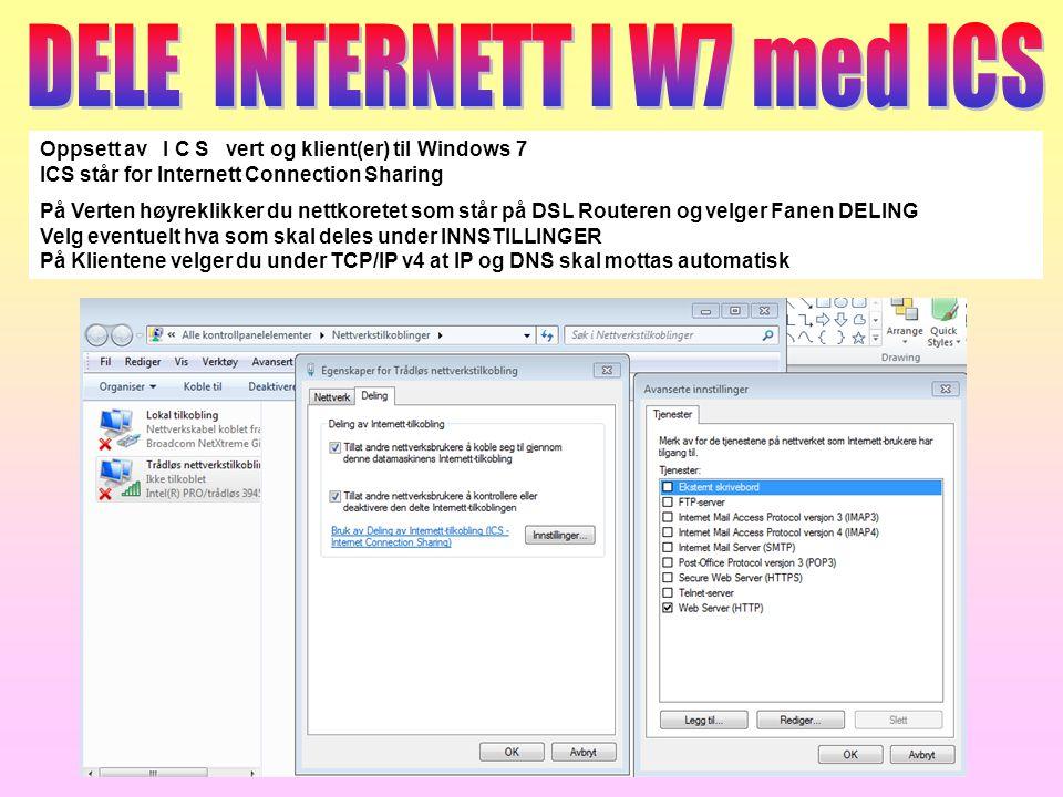 DELE INTERNETT I W7 med ICS