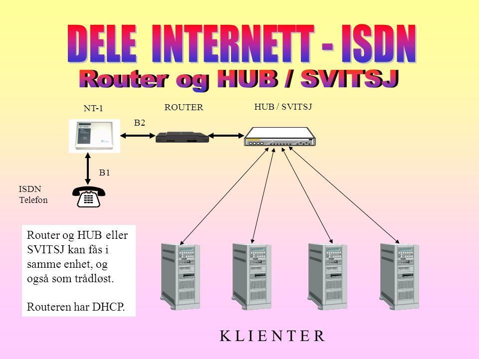 DELE INTERNETT - ISDN Router og HUB / SVITSJ K L I E N T E R