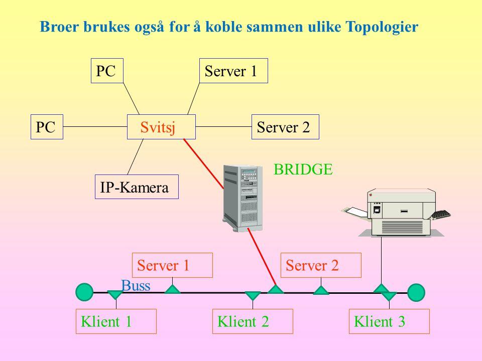 Broer brukes også for å koble sammen ulike Topologier