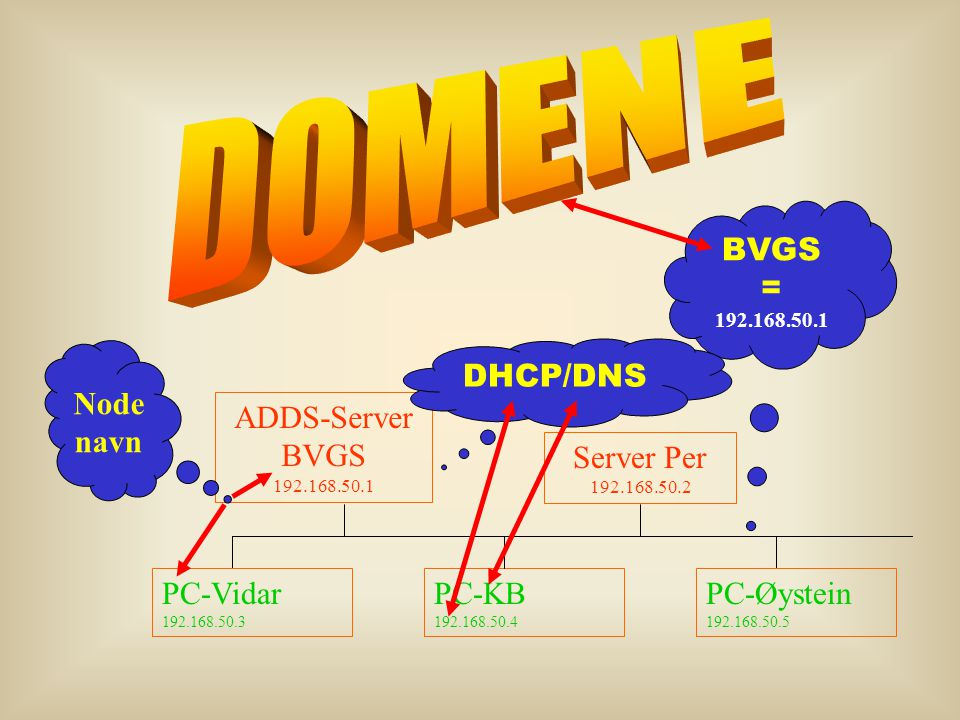 DOMENE BVGS = DHCP/DNS Node navn ADDS-Server BVGS 192.168.50.1