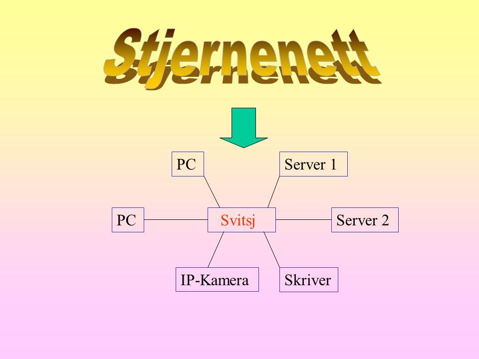 Stjernenett PC Server 1 PC Svitsj Server 2 IP-Kamera Skriver