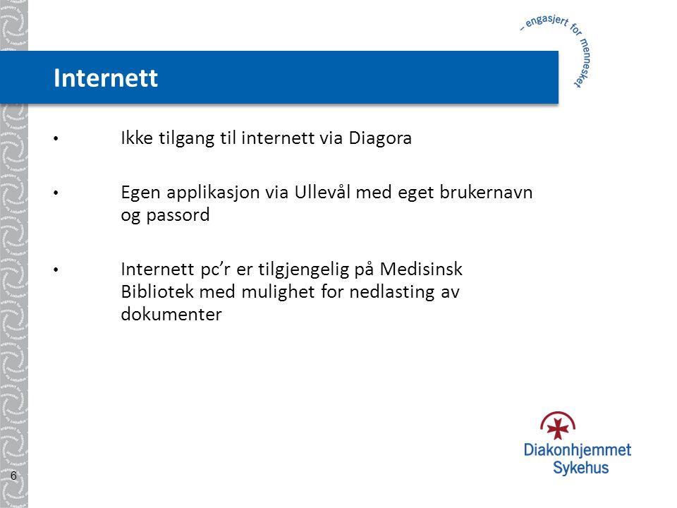 Internett Ikke tilgang til internett via Diagora