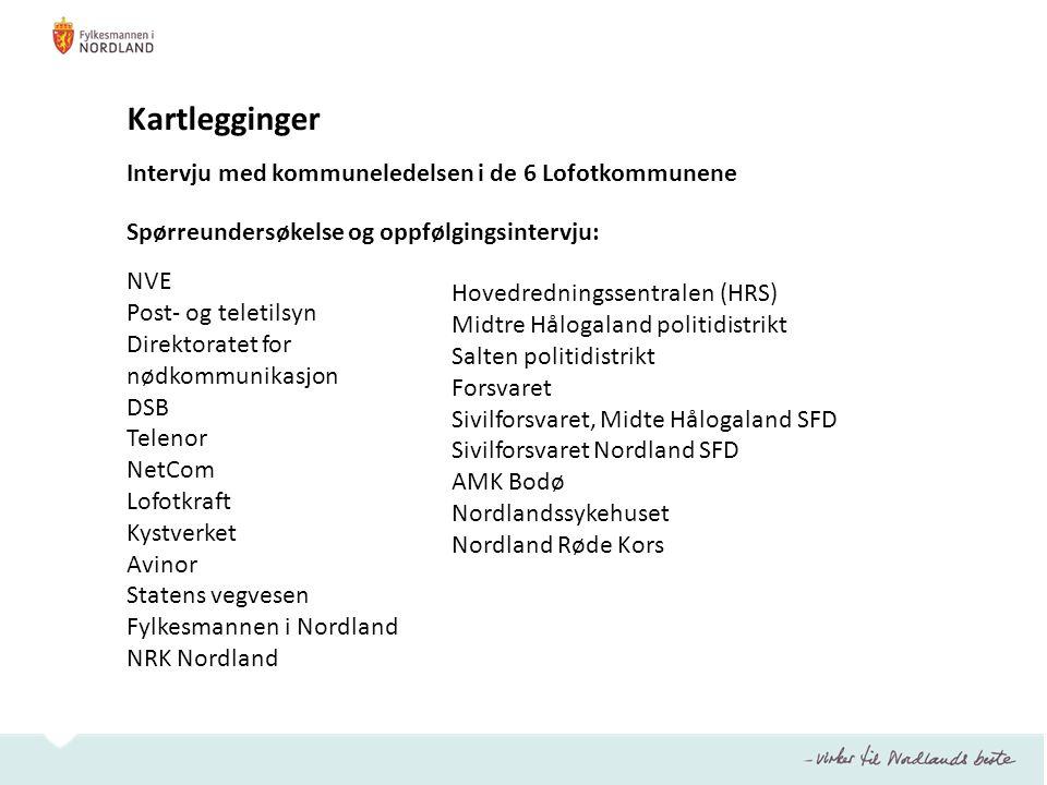 Kartlegginger Intervju med kommuneledelsen i de 6 Lofotkommunene