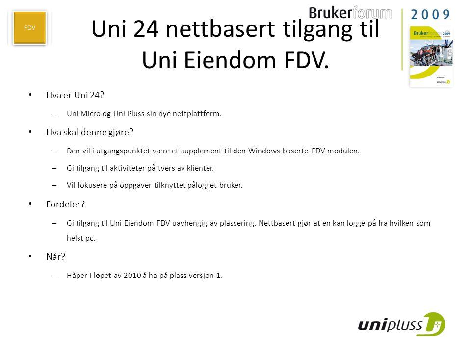 Uni 24 nettbasert tilgang til Uni Eiendom FDV.