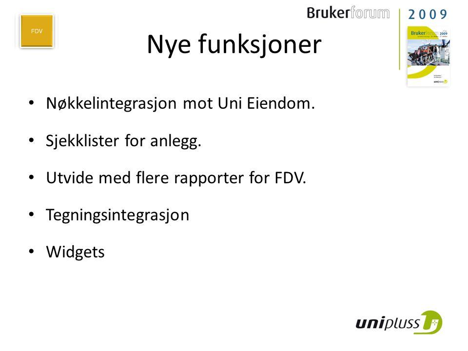 Nye funksjoner Nøkkelintegrasjon mot Uni Eiendom.