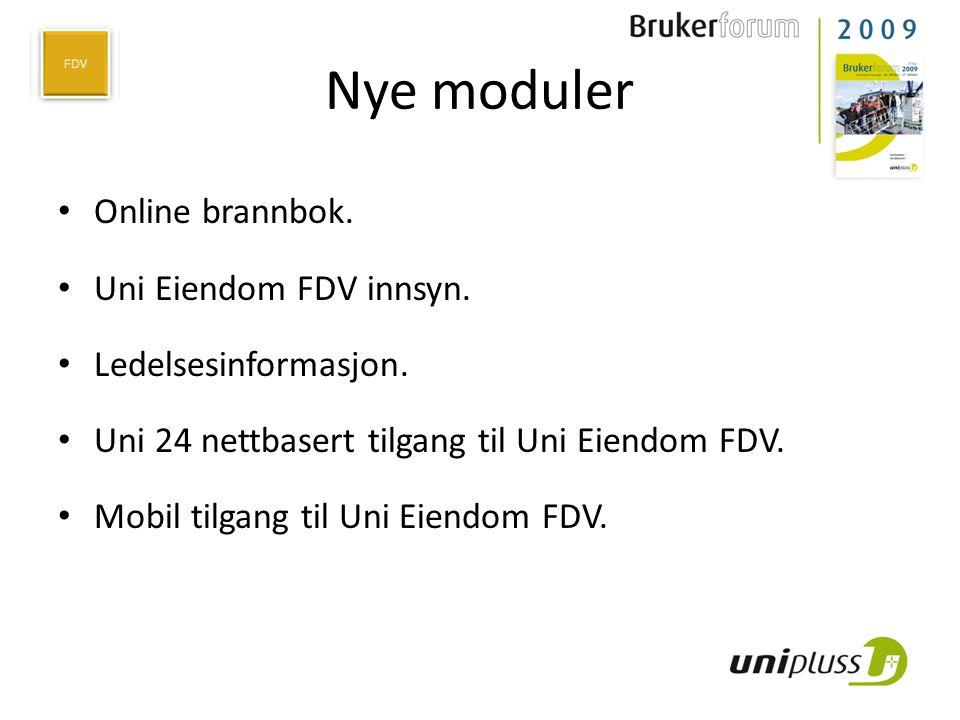 Nye moduler Online brannbok. Uni Eiendom FDV innsyn.