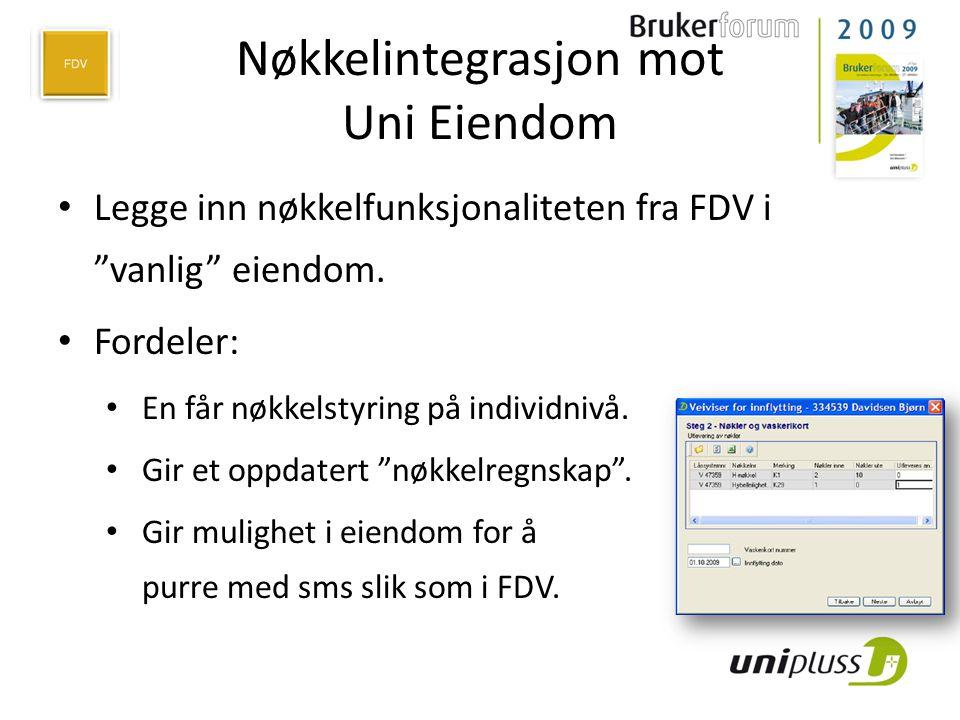 Nøkkelintegrasjon mot Uni Eiendom