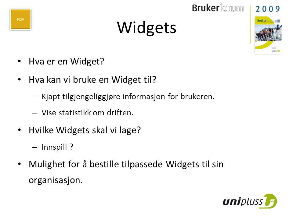 Widgets Hva er en Widget Hva kan vi bruke en Widget til