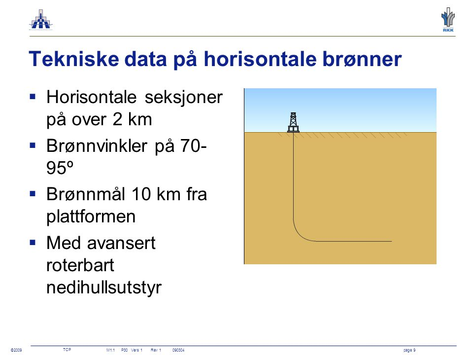 Tekniske data på horisontale brønner