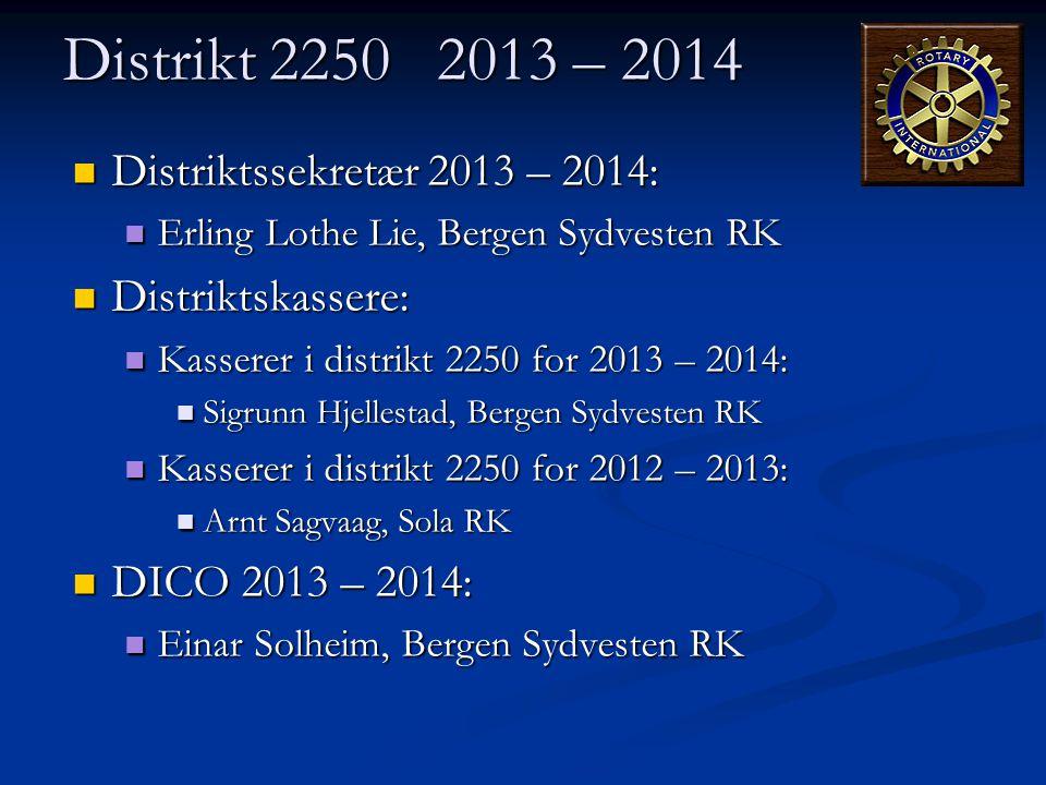 Distrikt 2250 2013 – 2014 Distriktssekretær 2013 – 2014: