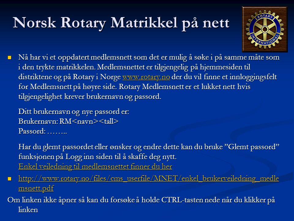 Norsk Rotary Matrikkel på nett