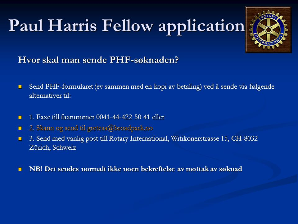 Paul Harris Fellow application