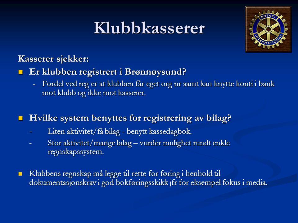 Klubbkasserer Kasserer sjekker: Er klubben registrert i Brønnøysund