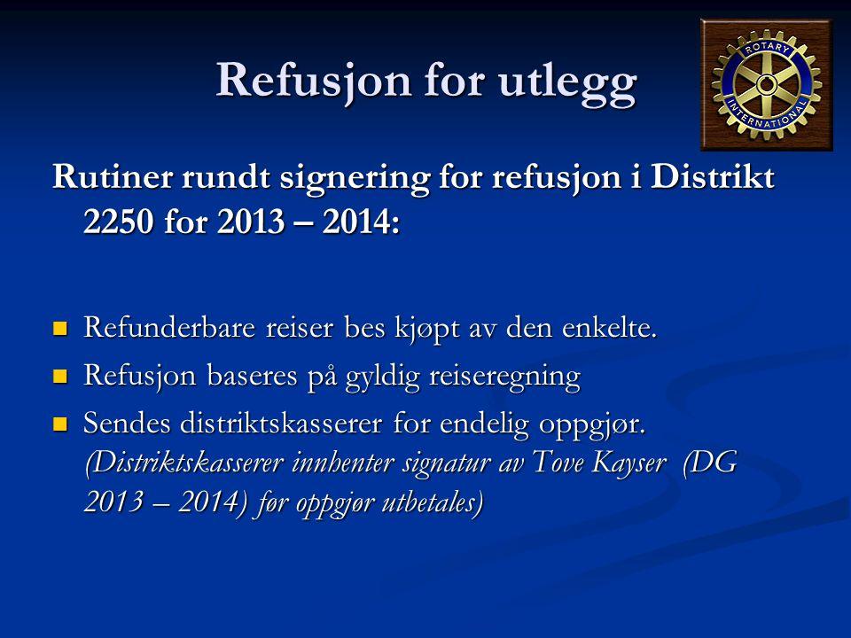 Refusjon for utlegg Rutiner rundt signering for refusjon i Distrikt 2250 for 2013 – 2014: Refunderbare reiser bes kjøpt av den enkelte.