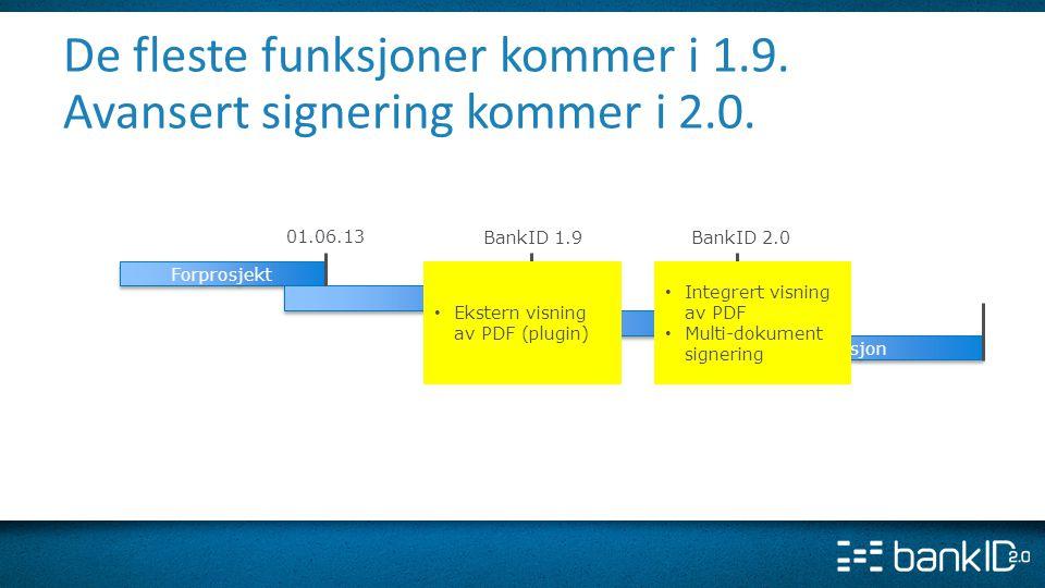 De fleste funksjoner kommer i 1.9. Avansert signering kommer i 2.0.