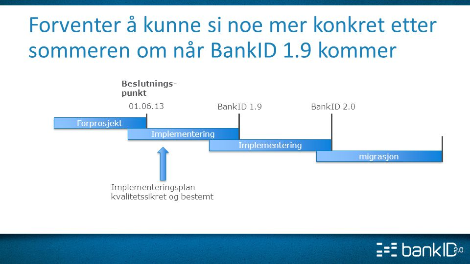 Forventer å kunne si noe mer konkret etter sommeren om når BankID 1