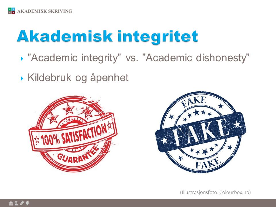 Akademisk integritet Academic integrity vs. Academic dishonesty