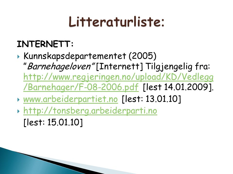 Litteraturliste: INTERNETT: