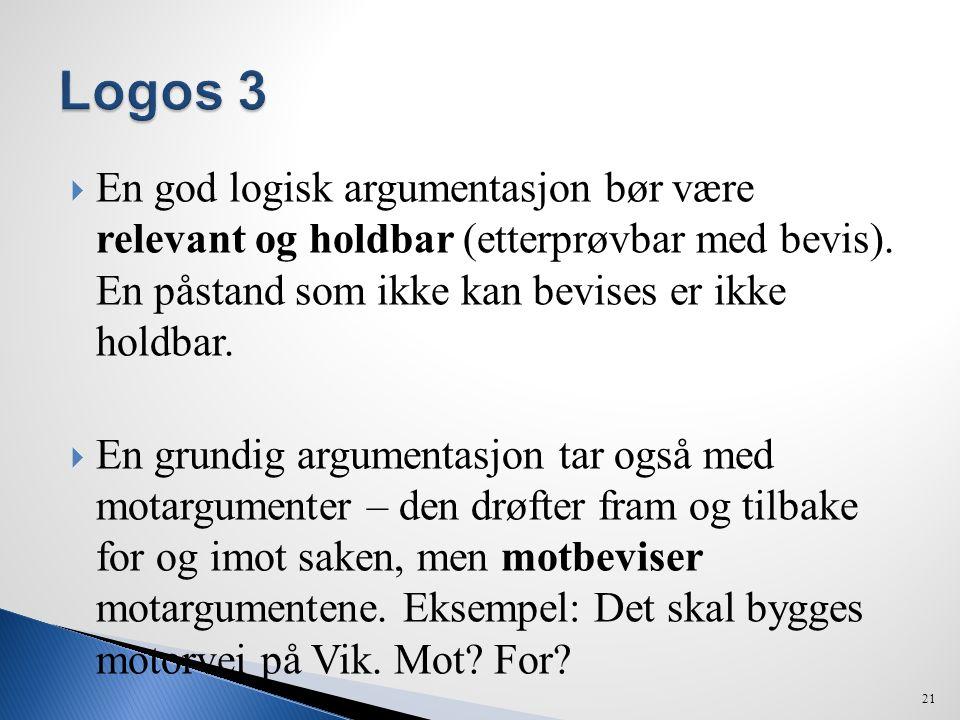 Logos 3 En god logisk argumentasjon bør være relevant og holdbar (etterprøvbar med bevis). En påstand som ikke kan bevises er ikke holdbar.