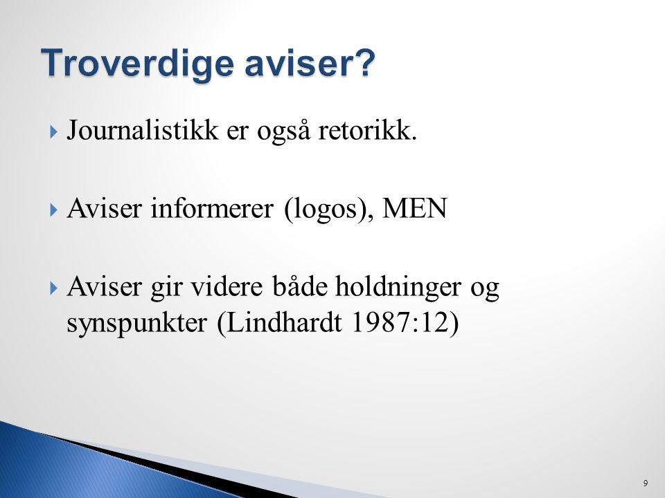 Troverdige aviser Journalistikk er også retorikk.