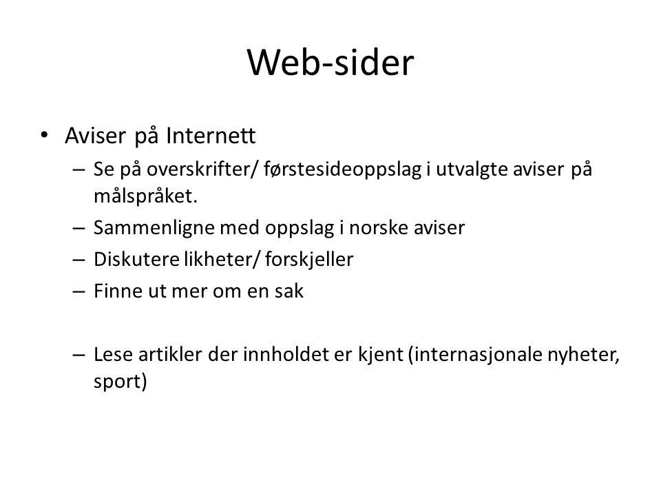 Web-sider Aviser på Internett