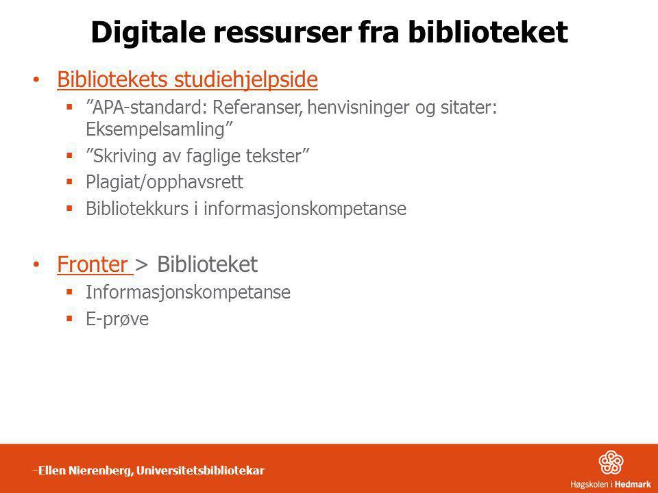 Digitale ressurser fra biblioteket