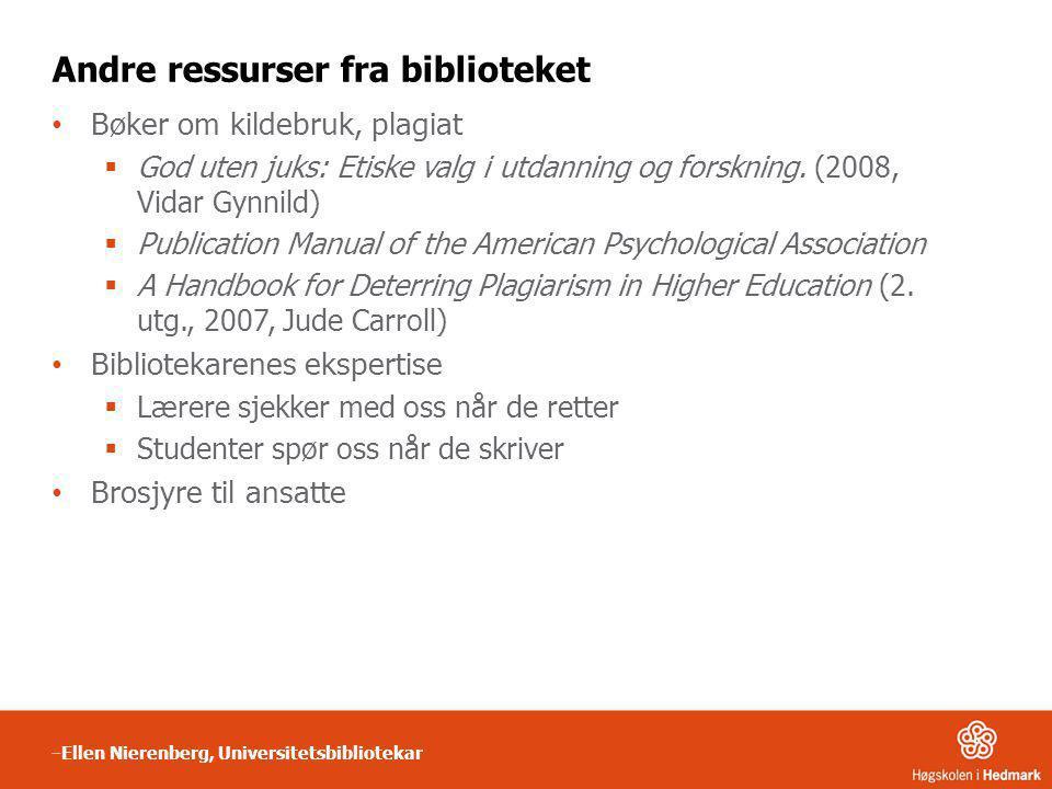 Andre ressurser fra biblioteket