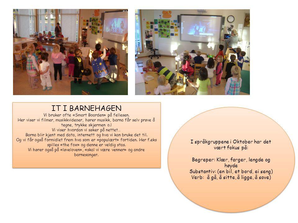 IT I BARNEHAGEN I språkgruppene i Oktober har det vært fokus på: