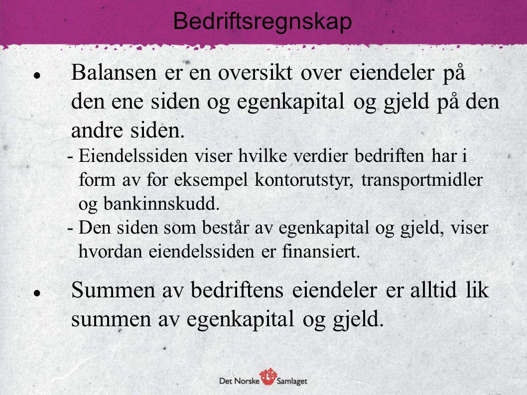 Bedriftsregnskap Balansen er en oversikt over eiendeler på den ene siden og egenkapital og gjeld på den andre siden.