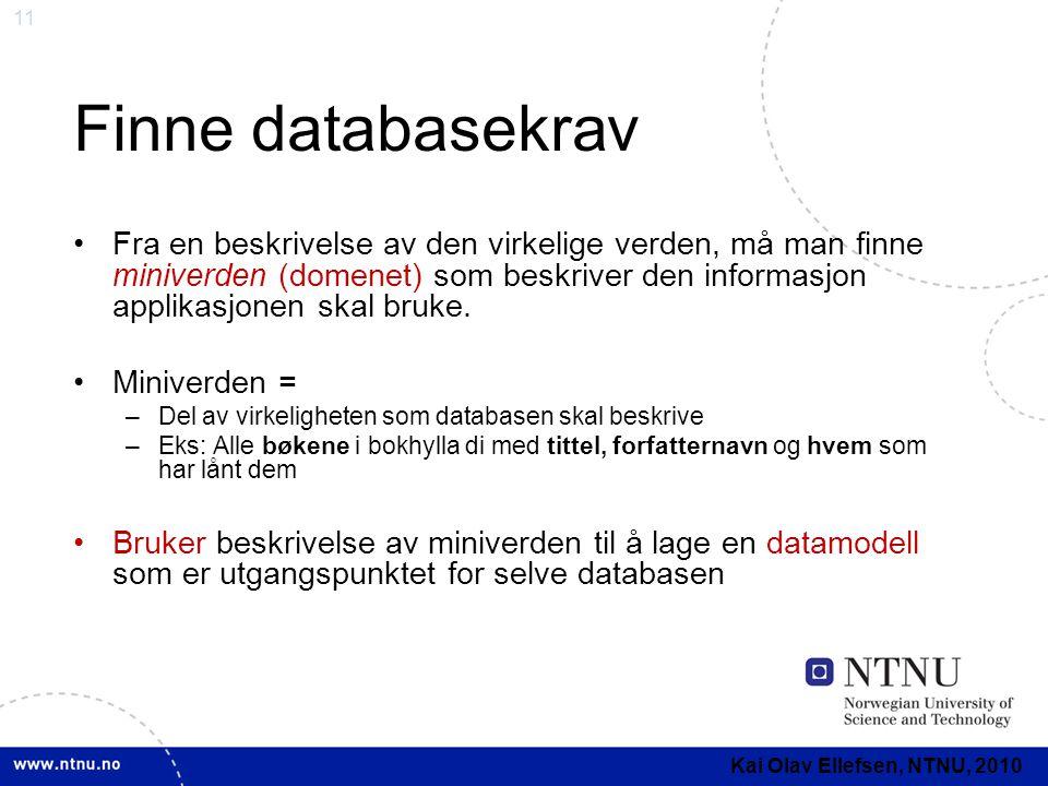 Finne databasekrav