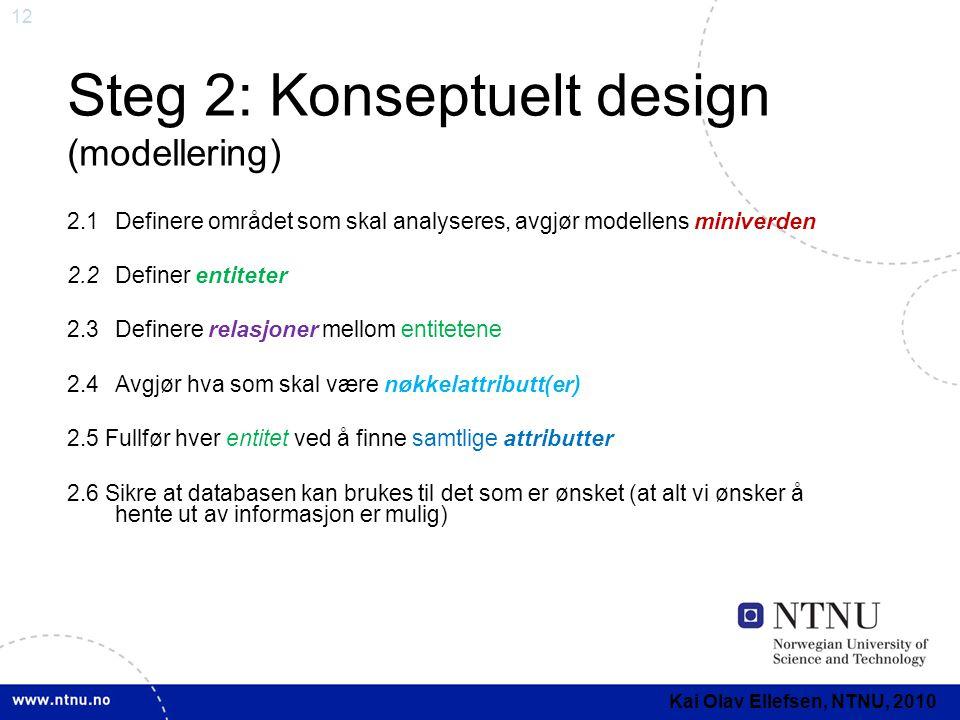 Steg 2: Konseptuelt design (modellering)