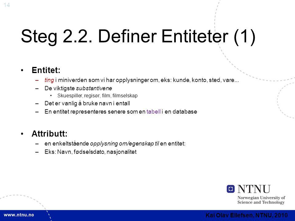 Steg 2.2. Definer Entiteter (1)