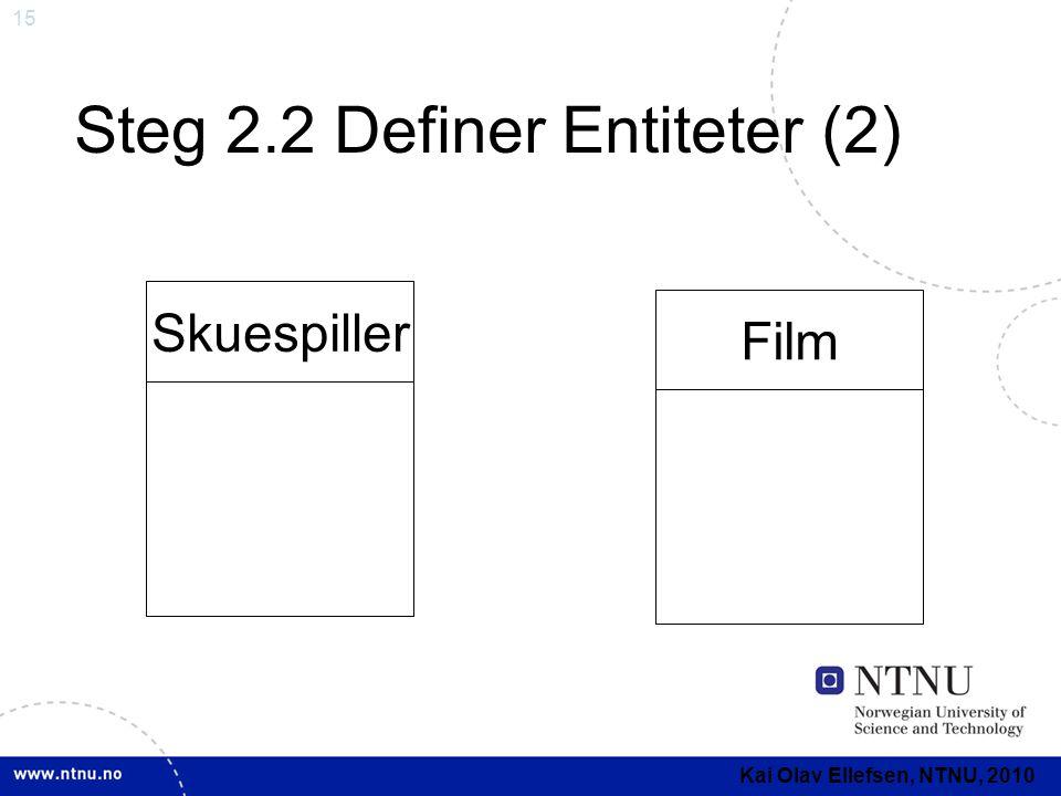 Steg 2.2 Definer Entiteter (2)