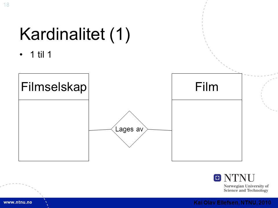Kardinalitet (1) Filmselskap Film 1 til 1 Lages av