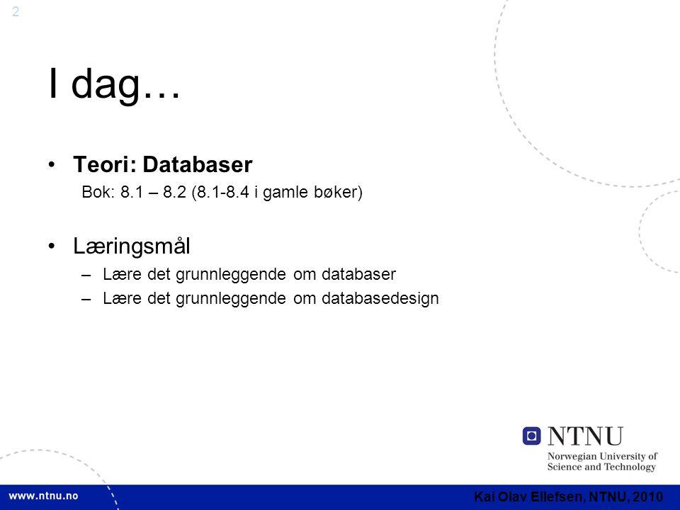 I dag… Teori: Databaser Læringsmål
