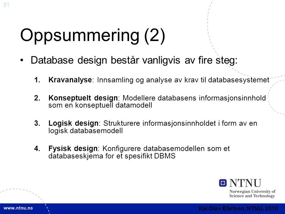 Oppsummering (2) Database design består vanligvis av fire steg: