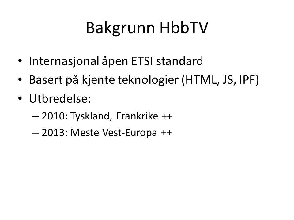 Bakgrunn HbbTV Internasjonal åpen ETSI standard