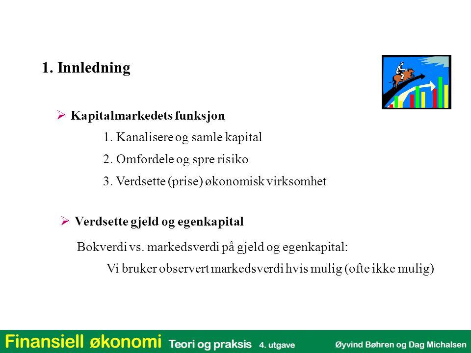 1. Innledning Kapitalmarkedets funksjon 1. Kanalisere og samle kapital