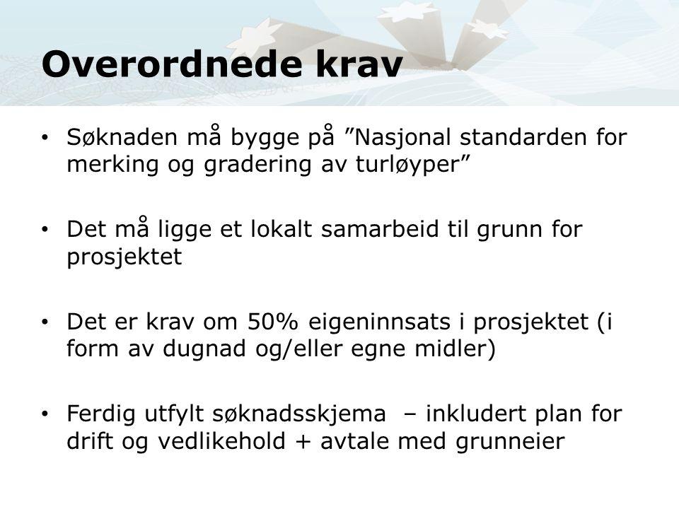 Overordnede krav Søknaden må bygge på Nasjonal standarden for merking og gradering av turløyper