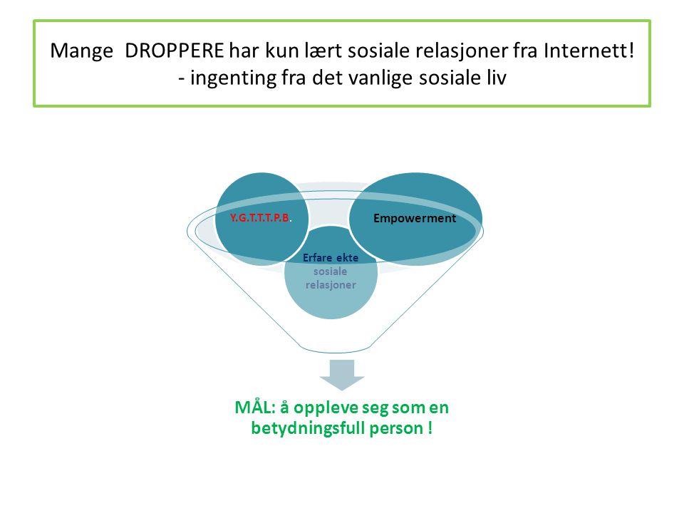 Mange DROPPERE har kun lært sosiale relasjoner fra Internett