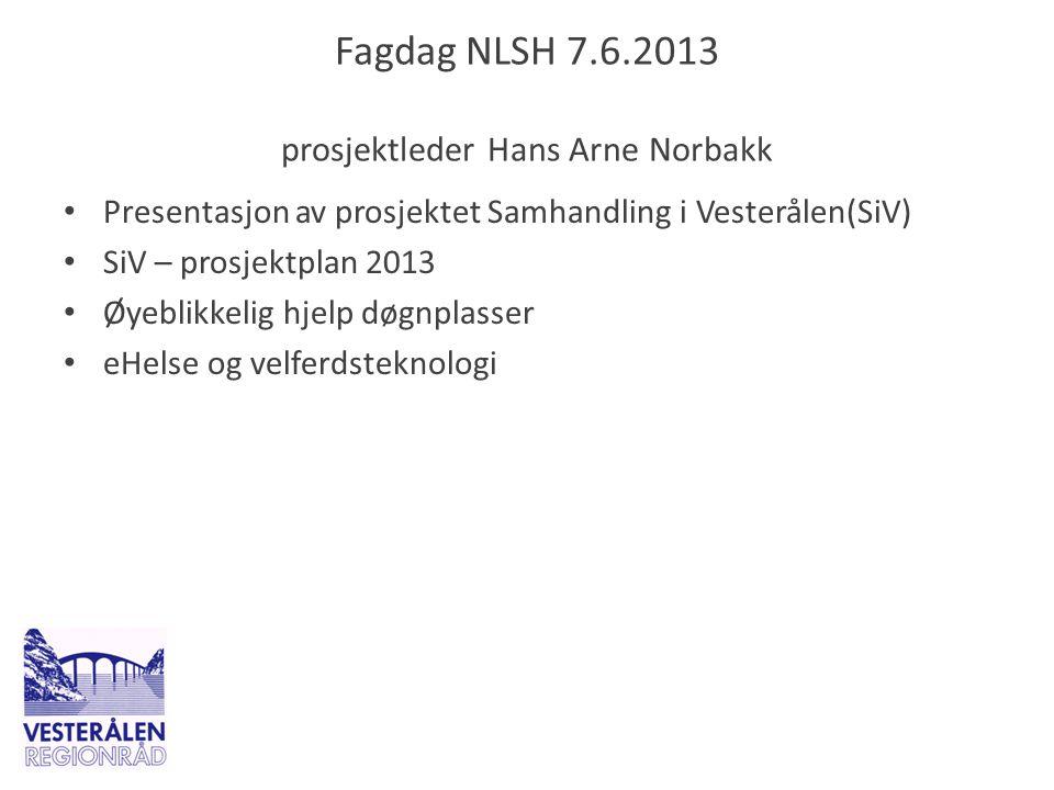 Fagdag NLSH 7.6.2013 prosjektleder Hans Arne Norbakk