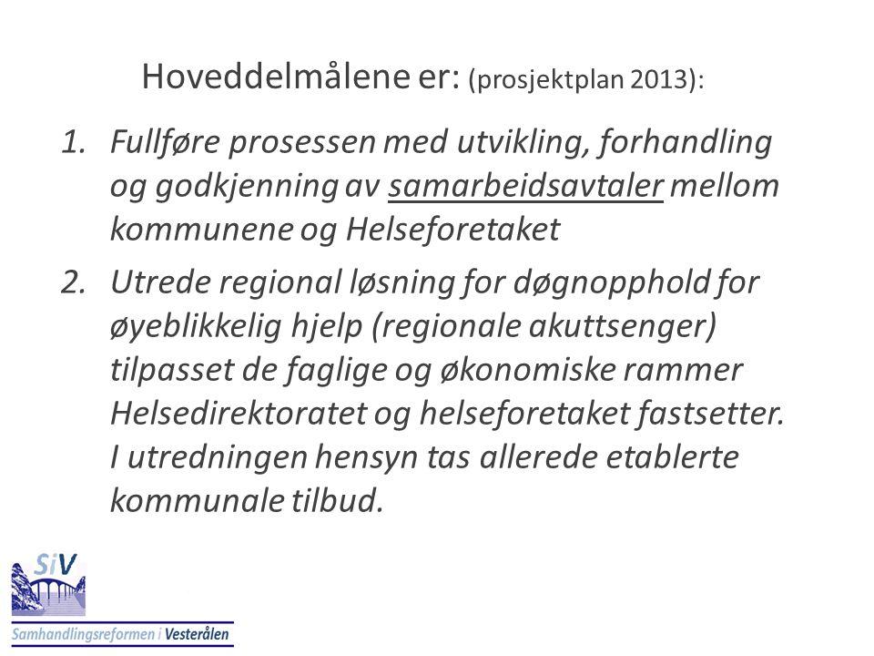 Hoveddelmålene er: (prosjektplan 2013):