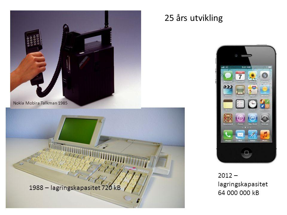25 års utvikling 2012 – lagringskapasitet 64 000 000 kB