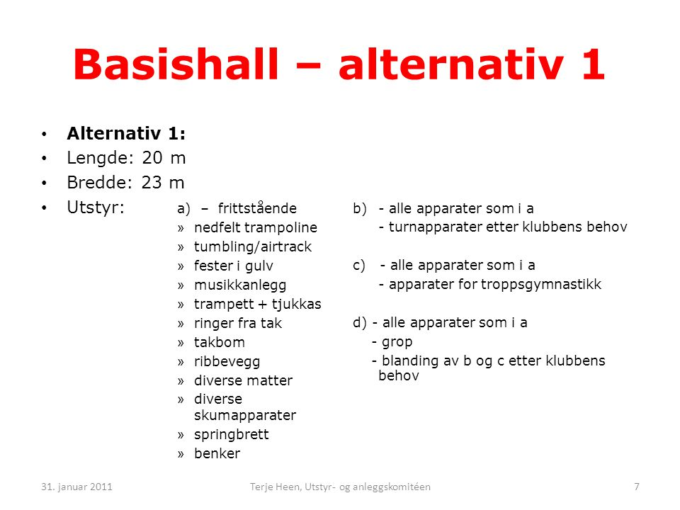 Basishall – alternativ 1